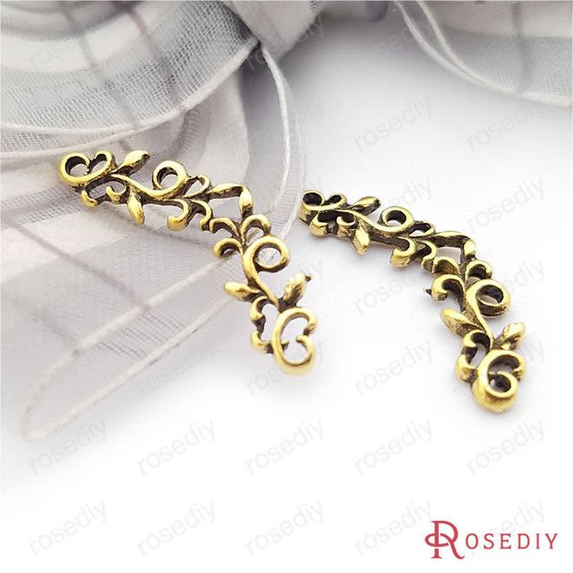 (25560)50PCS 24*8MM Antique Bronze Plated Zinc Alloy Bracelet Charms Flower vine Charms Diy Handmade Jewelry Findings Wholesale