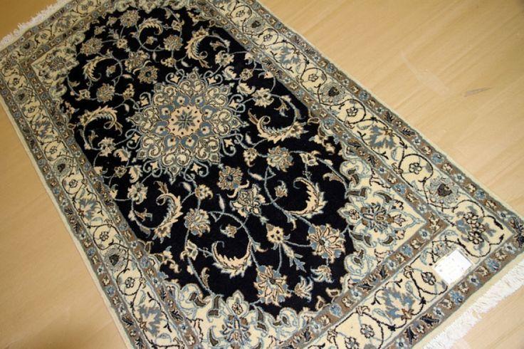 おしゃれセンターラグ手織りペルシャ絨毯ナイン産55449、ダークブルーペルシャ絨毯