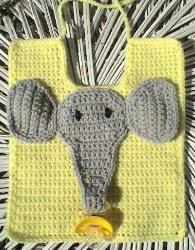 Elephant Pacifier Bib free crochet pattern