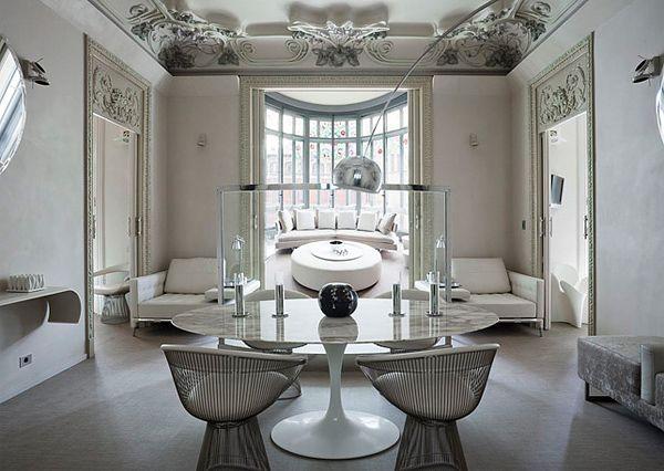 saarinenDining Room, Palauet Living, Interiors Design, Living Room, White Interiors, Barcelona Spain, Luxury Hotels, Apartments Design, El Palauet