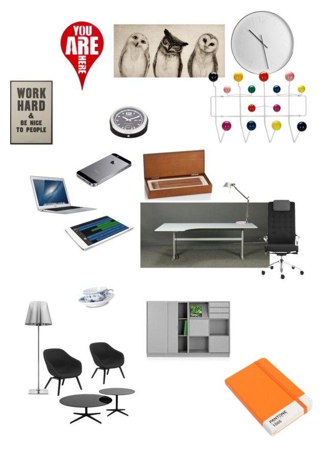 """Dream office"" by maria-f-engel on Polyvore featuring interior, interiors, interior design, home, home decor, interior decorating, DK, Fritz Hansen, Flos and Royal Copenhagen"