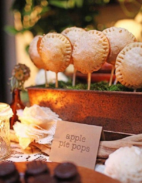 apple pie pops - these would have to be served cold or they would fall off the stick or drip hot apple down to your elbow.