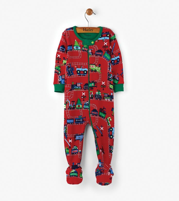 Magical Christmas Train Organic Cotton Baby Footed Coverall  | Hatley Canada