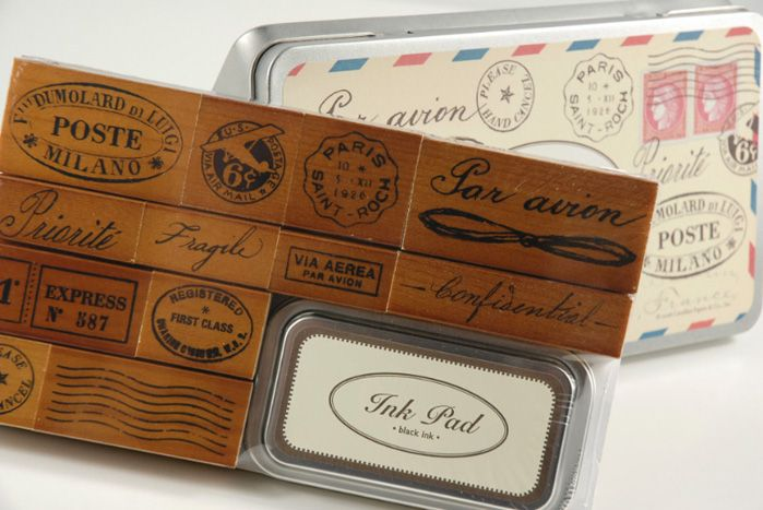 Vintage Par Avion Rubber Stamp Set by Cavallini & Co.12 wood mounted rubber stamps in tin box $19.