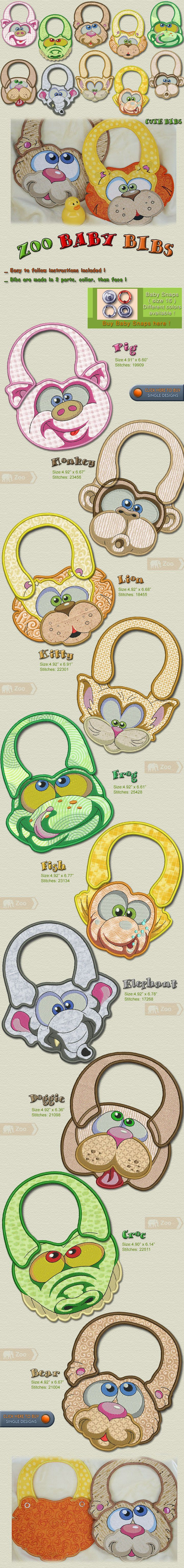 Zoo Baby Bibs Embroidery Designs