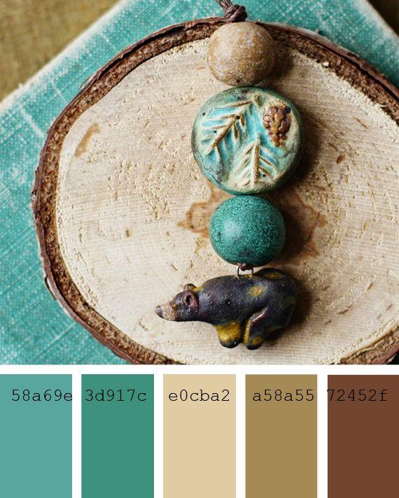 Paletas de colores neutros y verdes azulados