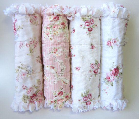 Shabby Baby Girl Burp Cloths, Pink Rose Burp Clothes, Baby Girl Burping Cloths, Cottage Chic Burp Rags, Set of Four on Etsy, $44.00