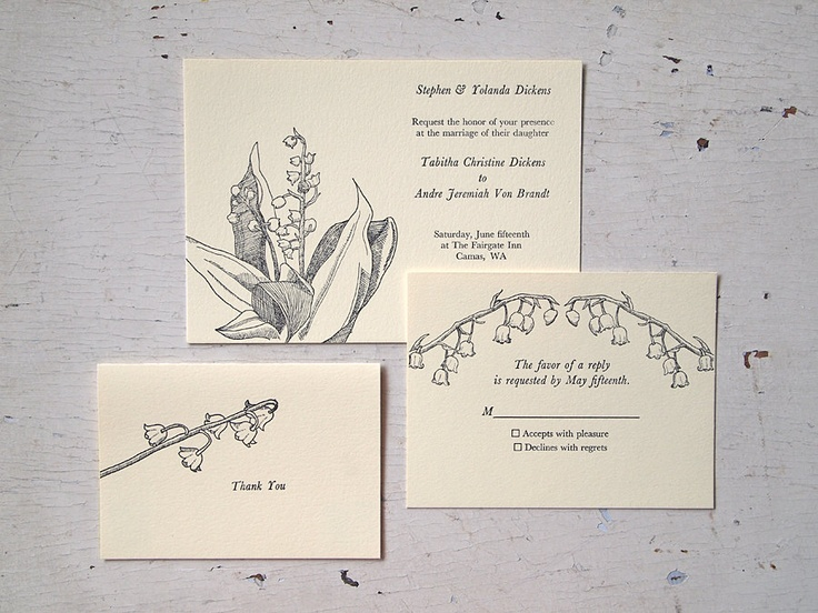Lily of the Valley Wedding Invitation Set - Illustrated Floral Letterpress Invite Suite (Sample). $8.00, via Etsy.