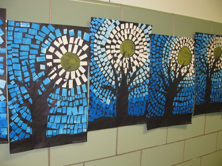 Painted paper mosaics, winter tree silhouettes, grade 3