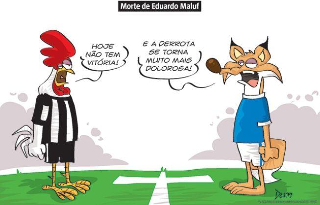 Charge do Dum (Zona do Agrião) sobre a morte de Eduardo Maluf. O diretor de futebol atuou pelo Cruzeiro e Atlético, e foi parte de várias conquistas por parte dos clubes mineiros (09/06/2017) #Charge #Dum #Futebol #Atlético #Galo #AtléticoMineiro #Cruzeiro #Maluf #EduardoMaluf #HojeEmDia