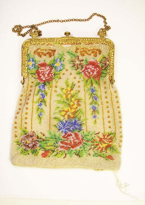 Antique Victorian Knitted Seed Bead Purse For Sale on  Etsy, $69.95.  Needs extensive repair and looks like some rows were strung and knitted incorrectly.