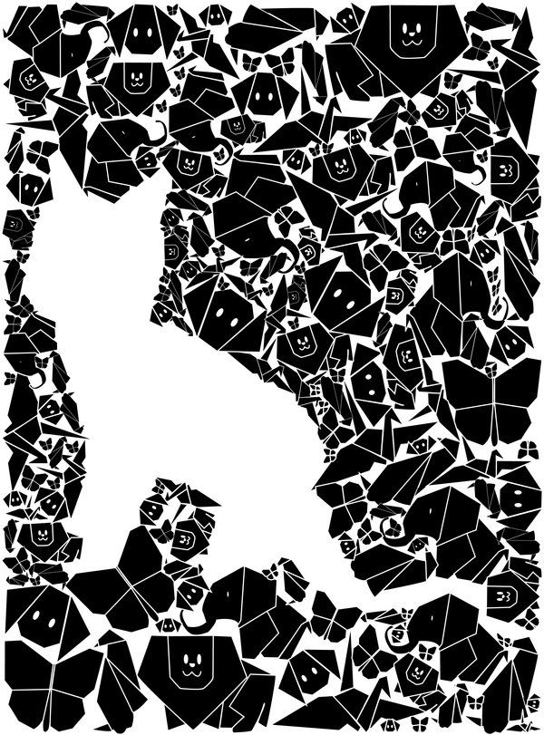 Post #4 This image demonstrates the gestalt principle of closure. Even thought the cat is not drawn, the eye puts together the white space left by the other objects to create the outline of the cat.