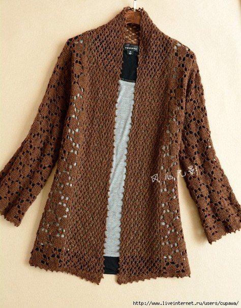 Delicadezas en crochet Gabriela: Saco largo tejido en crochet patrones