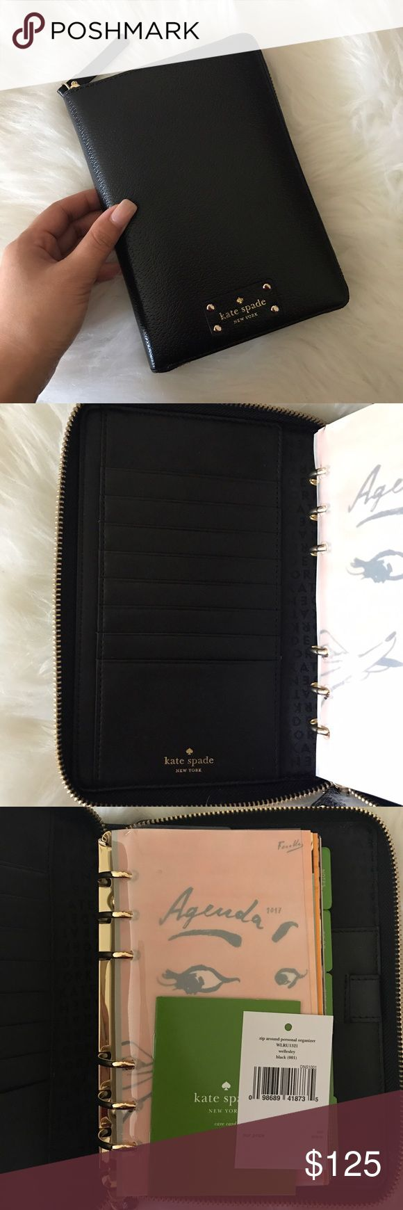 Kate Spade Wellesley Planner Brand new. Never used. Black planner, black lining, black inside. Gold zip around and 6 key ring hole. Comes with 2017 agenda. Along with 5 tabs: notes, to do, birthdays, restaurants, and addresses. Has a slot for your pen. kate spade Accessories