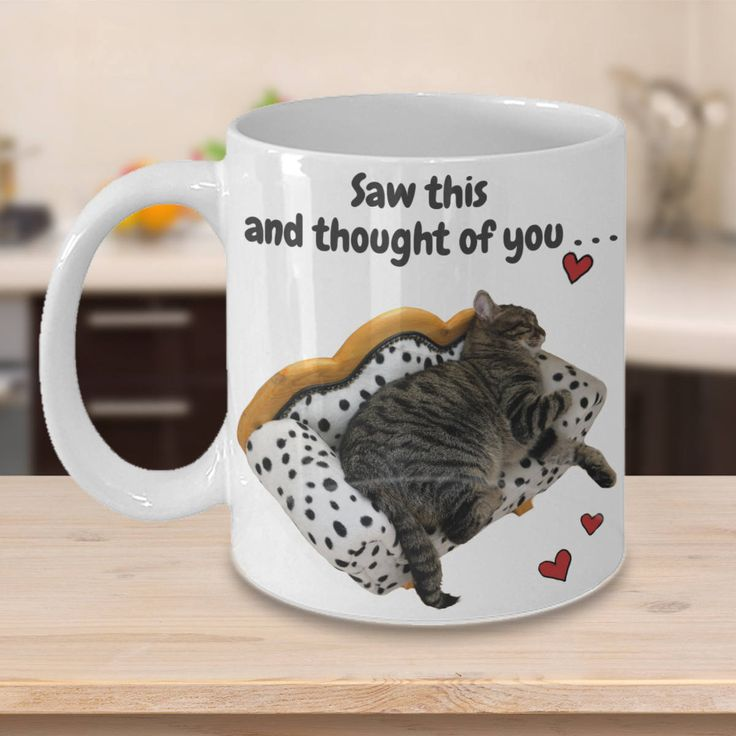 Cheeky Cat Mug 'Saw This and Thought of You', Double-Sided Print, 11oz or 15oz by PortunaghDesign on Etsy