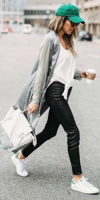 Christine Andrew + causal spring outfit + leather pants + tie-front white vest + long 'boyfriend' style cardigan + Adidas original Stan Smith sneakers.   Brands not specified.... | Style Inspiration