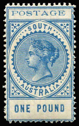 AUSTRALIAN COLONIES - SOUTH AUSTRALIA 1902-04 Thin 'POSTAGE' Perf 11½-12½ 3d to £1 set SG #268-79, key 10/- & £1 values MVLH, Cat £850+. (1