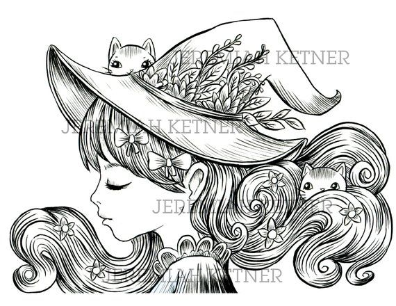 The Witches Hair Coloring Page Instant Download Pattern