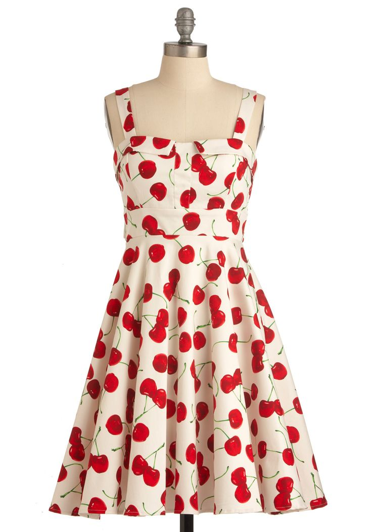 Pull Up a Cherry Dress - Red, A-line, Tank top (2 thick straps), Rockabilly, Fruits, Green, Novelty Print, Casual, Summer, Print, Mid-length, White, Best Seller, Fit & Flare, Top Rated