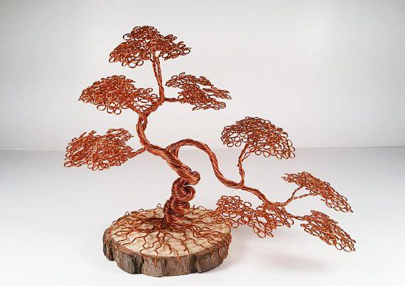 Antique Copper Wire Bonsai Tree Art Sculpture On Wood Slice Etsy Wire Tree Sculpture Tree Art Tree Sculpture