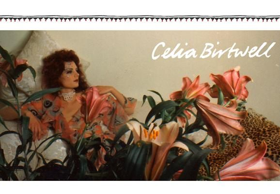 Gala Mitchell, wearing an Ossie Clark dress with a Celia Birtwell print