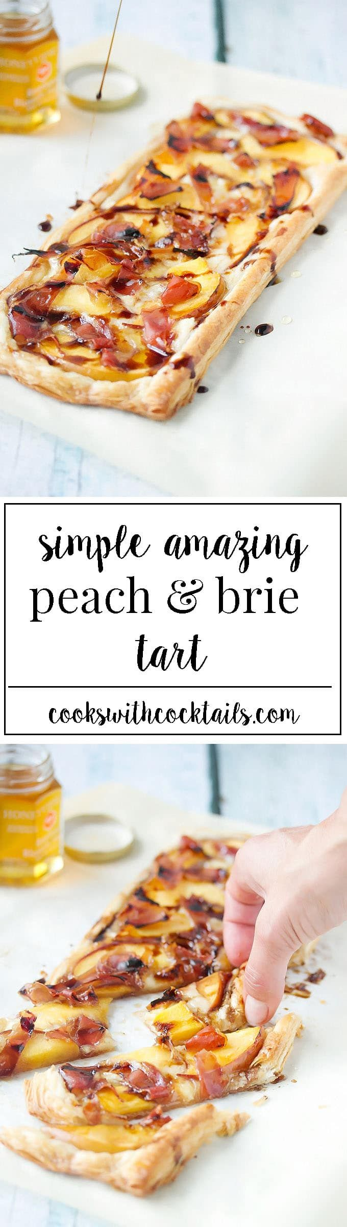 A sweet and savory puff pastry tart baked with peaches, brie and prosciutto then drizzled in honey and a syrupy balsamic reduction. Its so simple and totally amazing. #puffpastrytart #tartrecipe #peachtart