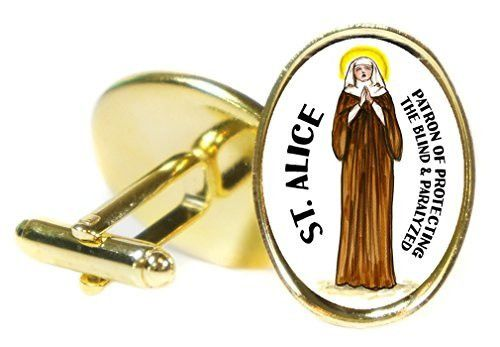Saint Alice Patron of Protecting the Blind & Paralyzed Oval Gold Pair of Cuff Links