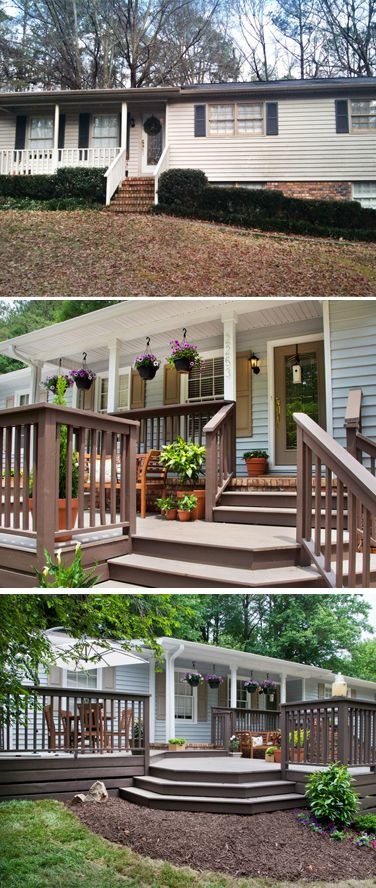 "Top: before; middle & bottom: after. The tiny front porch & narrow, steep stairs are gone. Designer John Gidding designed & built an extended deck across the front of the house. The new deck includes multiple ""rooms"" that allow for plenty of space for relaxing and entertaining."