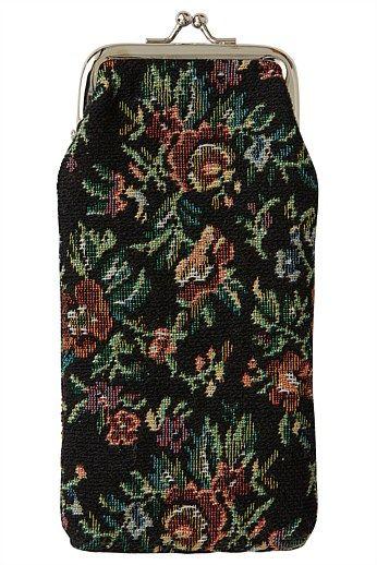 Black Tapestry Glasses Case - Designer Women's Clothes Online