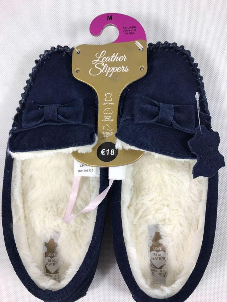 Primark Damen Slipper Hausschuhe Pantoletten Echt Leder Blau Neu Gr. 38 - 39 M