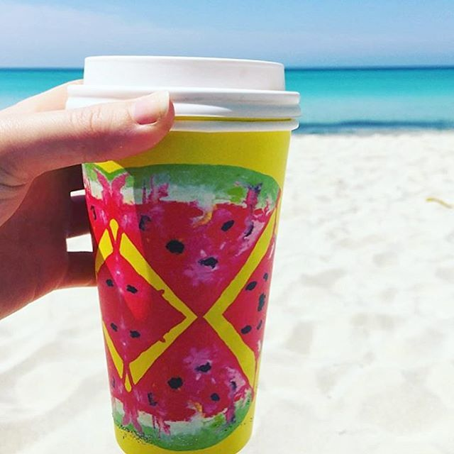 Morning coffee much needed! Thank you to those who are sharing pics of their Britt Laspina Watermelon Cup's! It's great to see my Coffee Cup Design on the West Coast! ☕️ #BioCupArtSeries