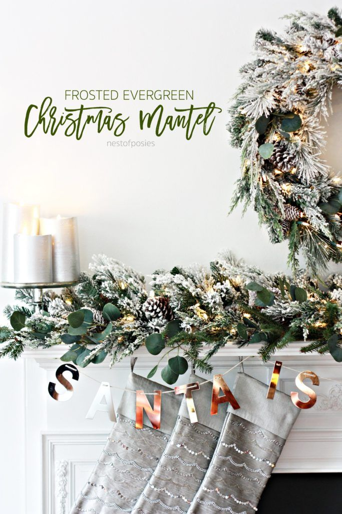 Frosted Evergreen Christmas Mantel Home Love - Decor