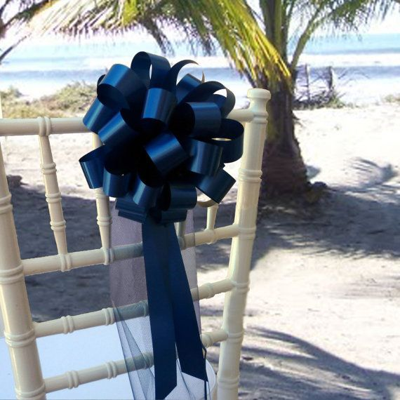 10 Navy Blue Pew Pull Bows Tulle Wedding by giftwrapetc on Etsy