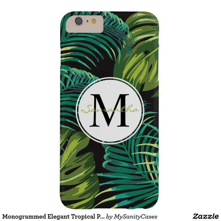 Monogrammed Elegant Tropical Plants Barely There iPhone 6 Plus Case