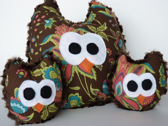 Adorable Minky Owl family Toys/Decorations on Etsy, $33.00 CAD