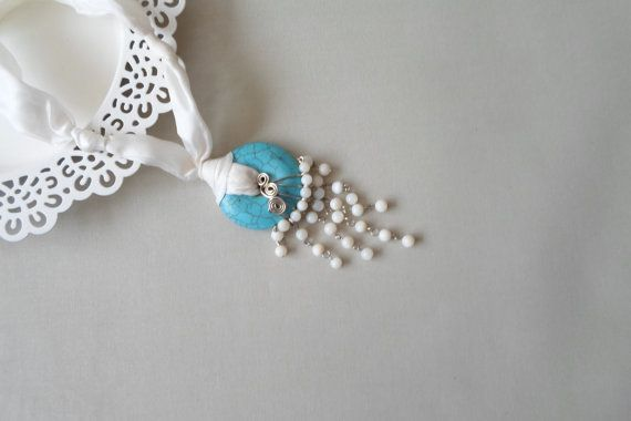 Turquoise jewellery. Pendant Necklace. Donut by AccessoriesByAtlas