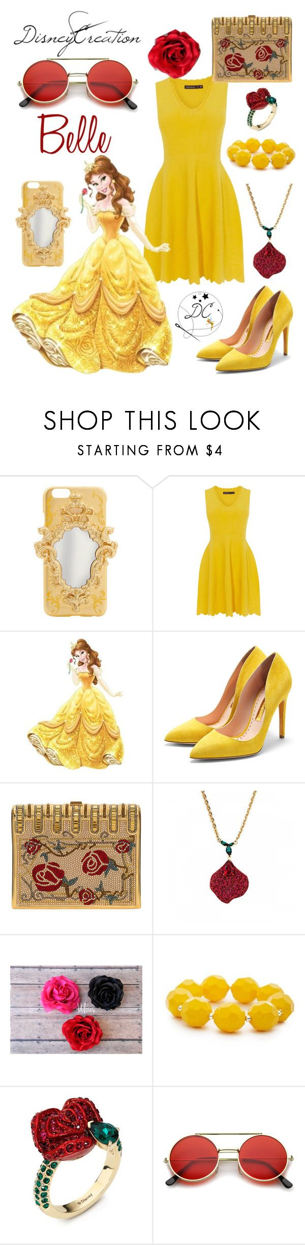 """""""Belle - By DisneyCreation"""" by disneycreation ❤ liked on Polyvore featuring York Wallcoverings, Rupert Sanderson, Judith Leiber, Atelier Swarovski, Kim Rogers and ZeroUV"""