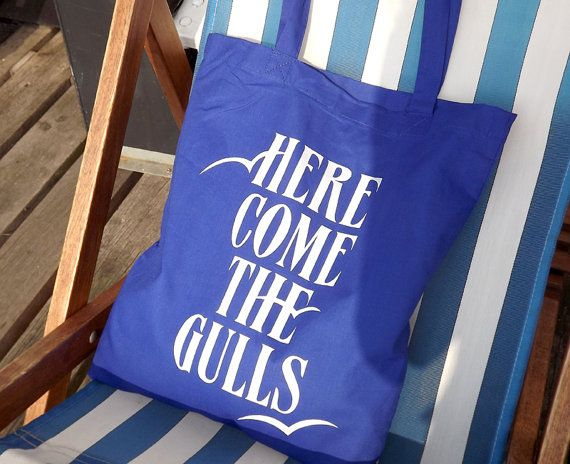 Here Come The Gulls Screenprinted Blue Tote Bag perfect for the beach by hello DODO,