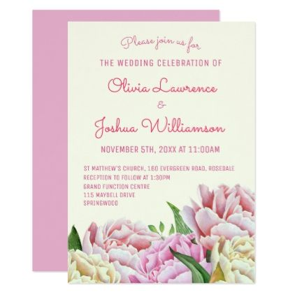Pretty Peonies Pastel Wedding Invitations - wedding invitations diy cyo special idea personalize card