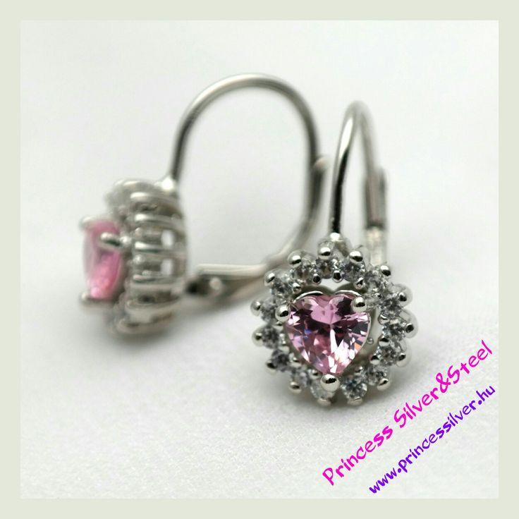 Elegáns, fehér és rózsaszín cirkónia kristályos ezüst fülbevaló. 💝  www.princessilver.hu