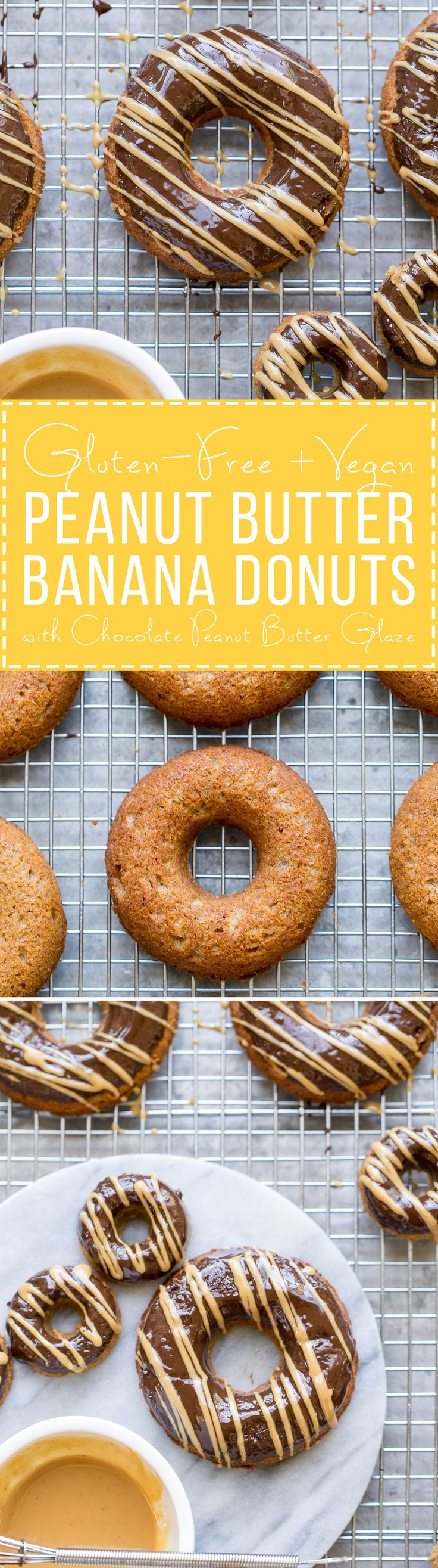 These Peanut Butter Banana Donuts have a dark chocolate glaze topped with a…