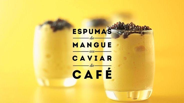 JAUNE by Carte Noire : Espumas de mangue au caviar de café. Recette #1JAUNE Espumas de mangue au Caviar de café.  Chromatic porn food seri...