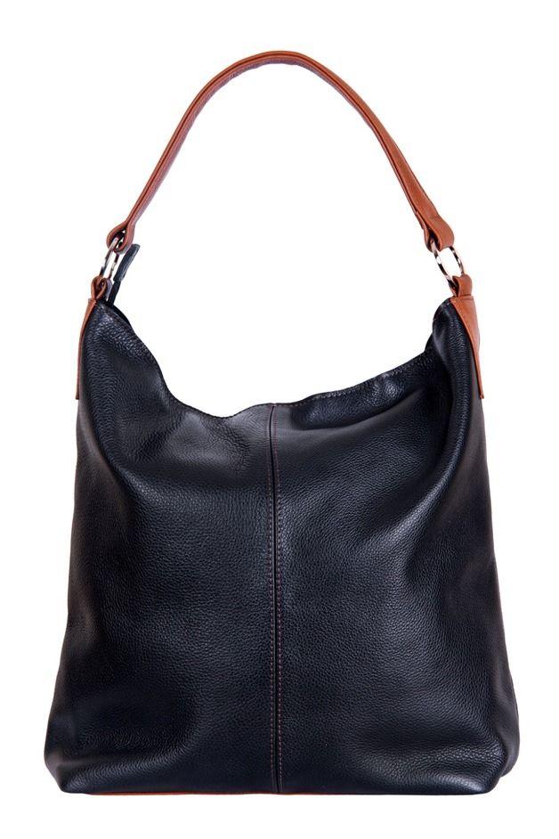 piękna torba hobo, skóra naturalna, czarny/camel - BAGS4JOY - Torebki damskie