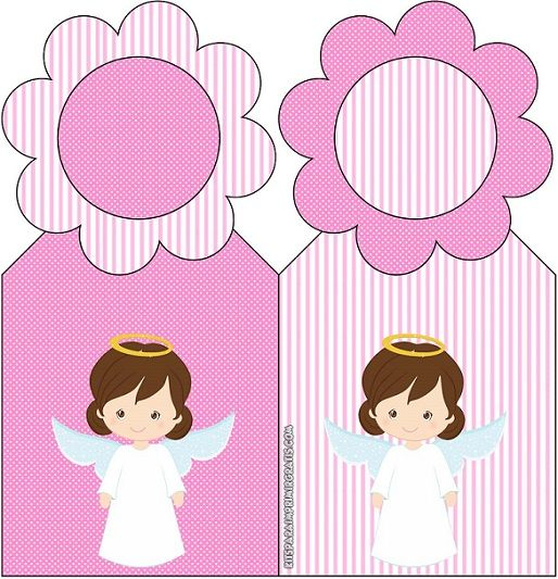 Decoración de Bautismo niña: Kit con ángeles para imprimir y ...