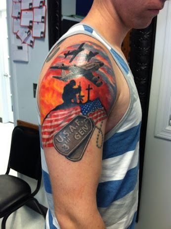 Military memorial tattoo by Shawn Pierce at Skin Deep Tattoo and Body Piercing - Google+