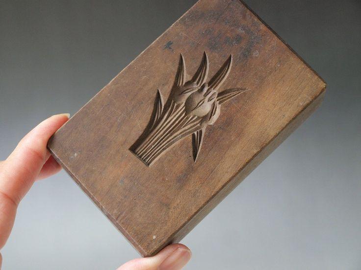 ANTIQUE JAPANESE KASHIGATA Hand Carved Wooden Cake Mold - Iris   eBay