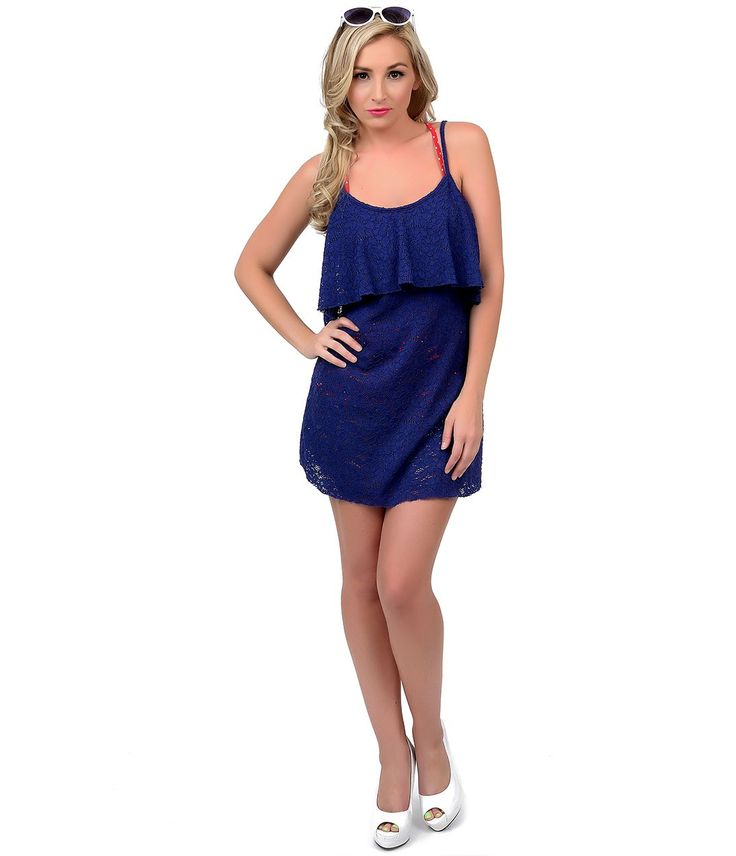 Betsey Johnson Blue Floral Crochet Lace Swim Cover Up Dress #uniquevintage