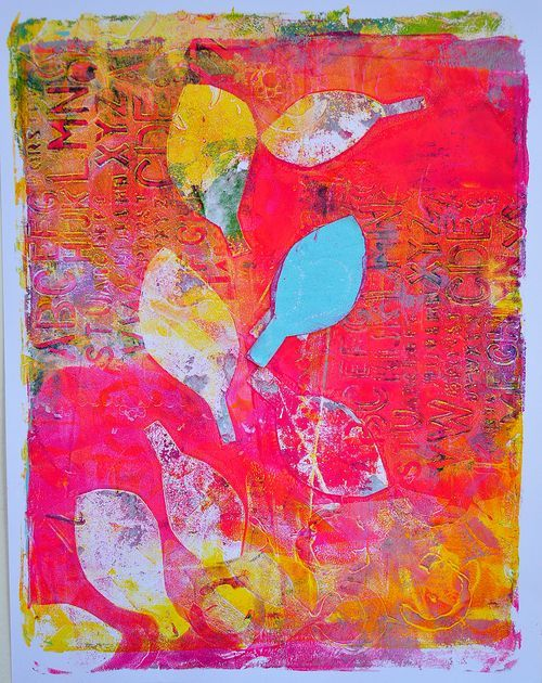 Another gelatin print...and win a 6x6 Gelli Plate!! - ponderings