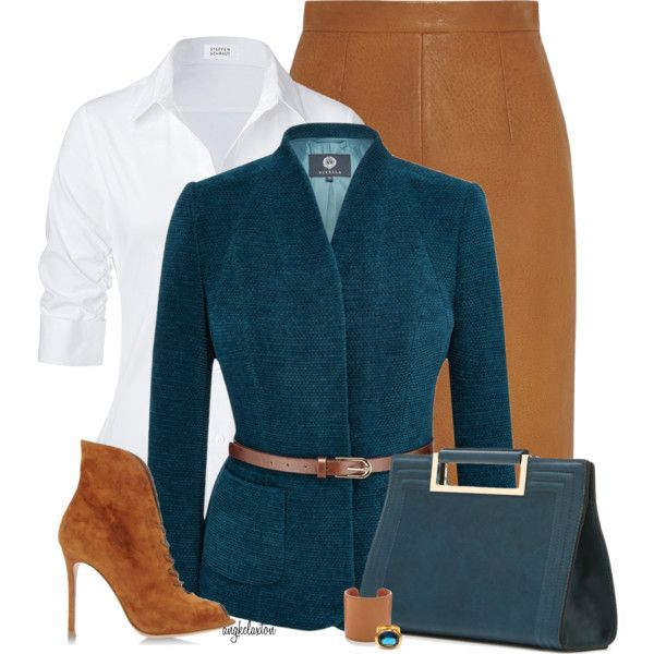Tan and Teal for the Office by angkclaxton on Polyvore featuring Steffen Schraut, Viyella, Miu Miu, Gianvito Rossi, Melie Bianco, J.Crew and SeidenGang