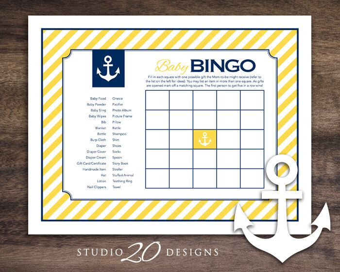 Instant Download Blue Yellow Nautical Baby Shower Bingo Cards, Printable Sailor Theme Party Game, Gender Neutral Yellow Blue Baby Bingo 26C by Studio20Designs on Etsy https://www.etsy.com/listing/227787733/instant-download-blue-yellow-nautical